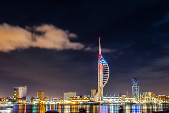 Spinnaker Tower at night - Image courtesy of Wave Photography - http://wavephotography.co.uk/